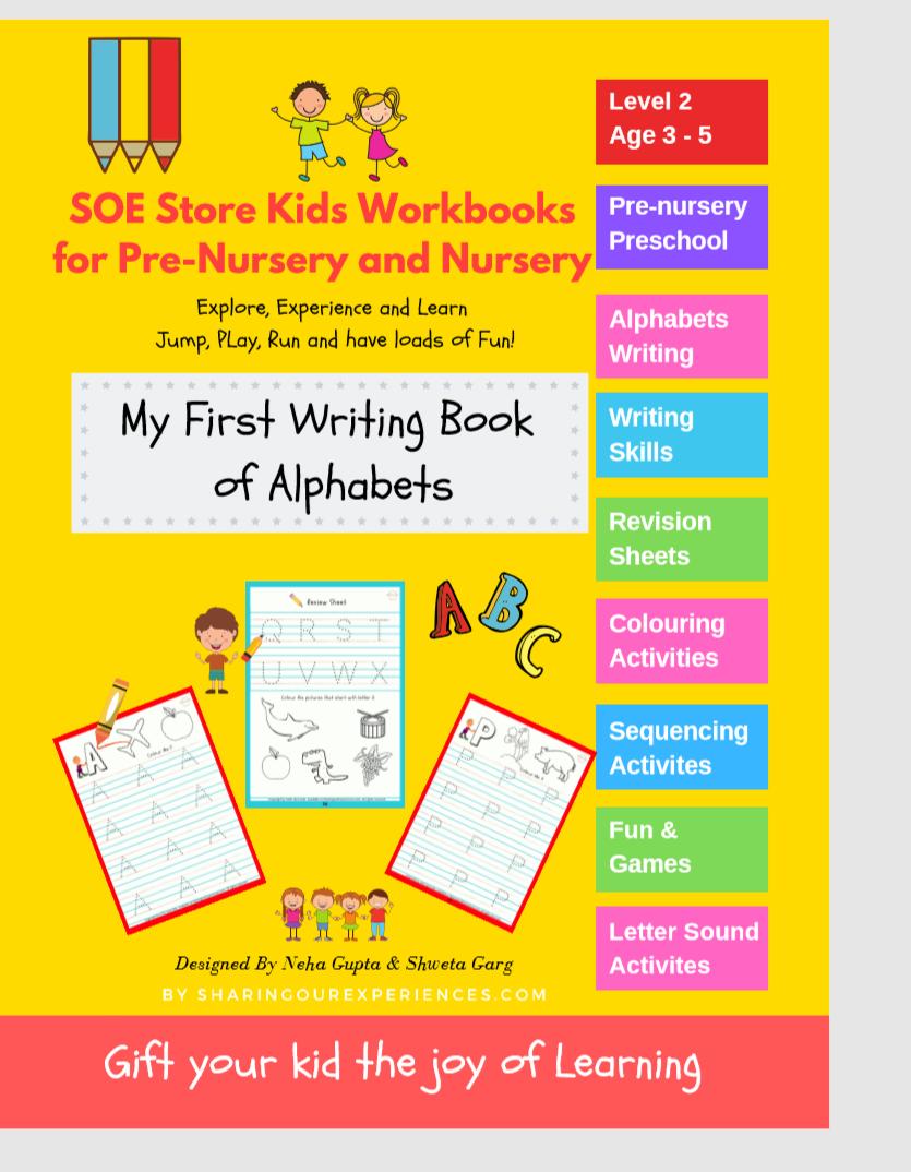 SOE store Kids Capital Alphabets writing activity book for kids Preschool Worksheets for kids (3-5 years Nursery toddlers preschool prenursery) front