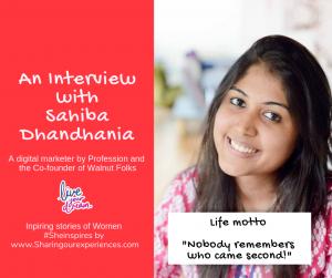 An interview with Sahiba