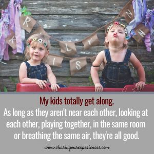 Funny parenting meme wuth two kids My kids totally get along,As long as they arent near each other,looking at each other,playing together, in the same room, or breathing the same air, they are all good