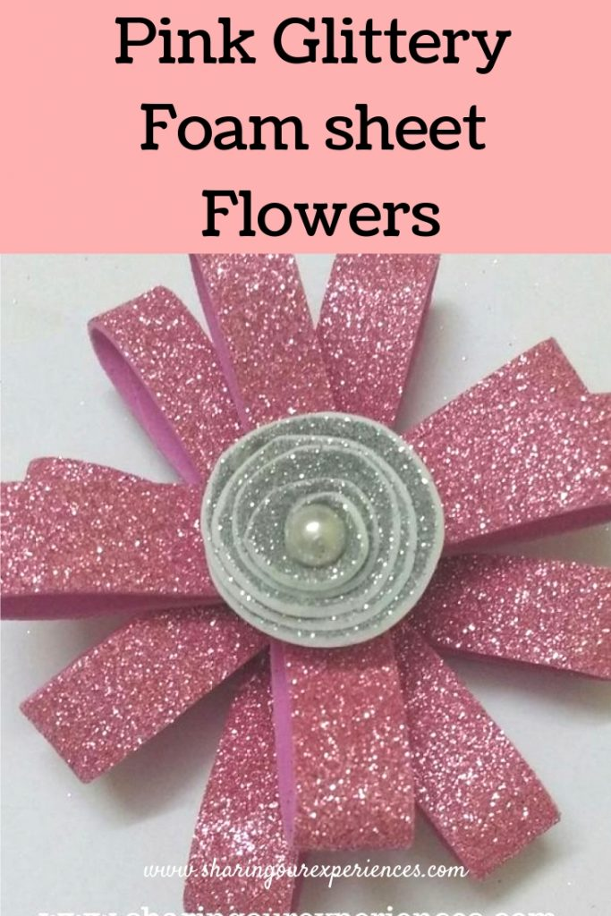 Pink Glitter foam flower
