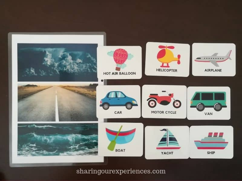 Transportation Flash Card Activities