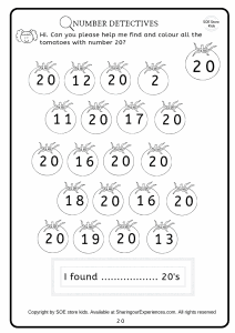 Numbers recognition and counting worksheets I spy number activities book