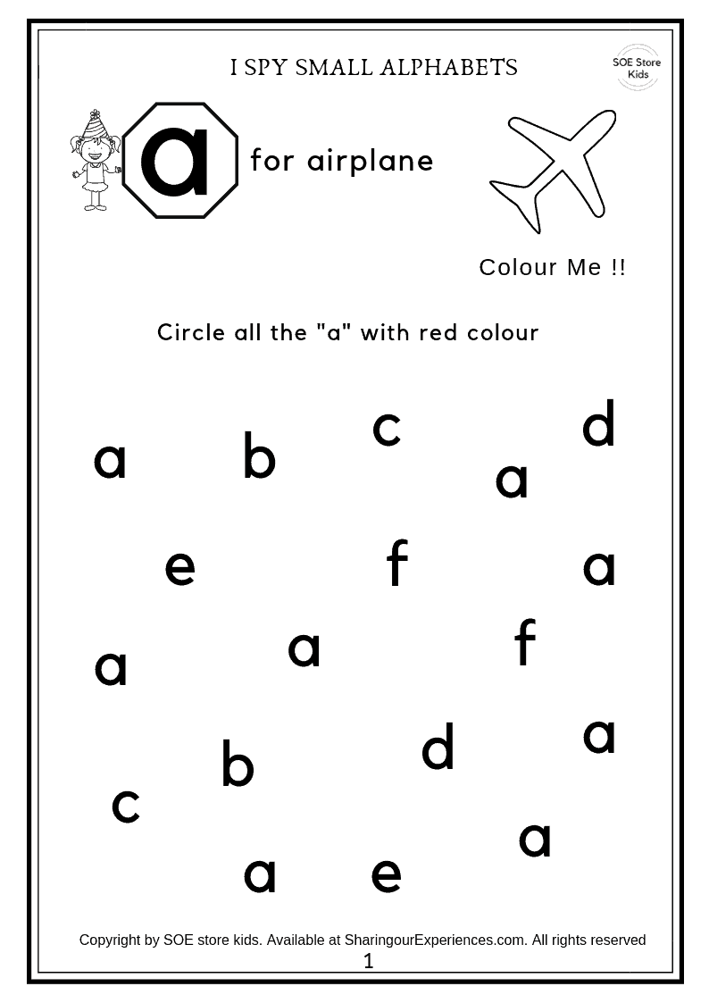 SOE store kids alphabets learning worksheets visual discrimination 1