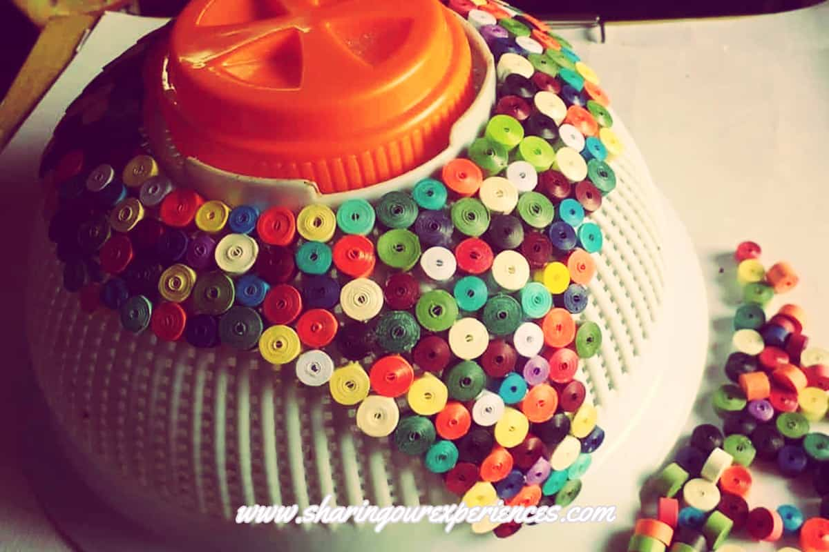 lamp shade with quilled papers 7