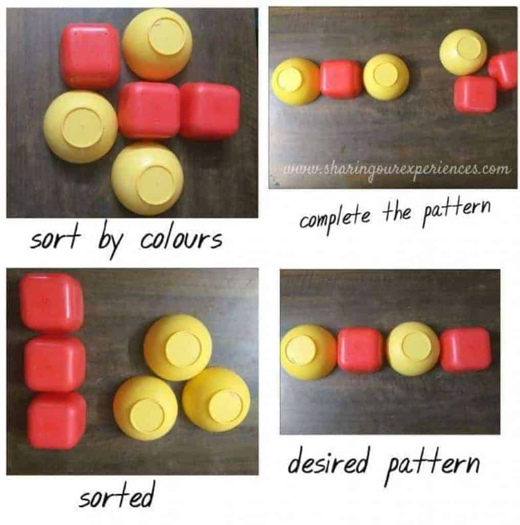 sort by colour matching activity easy hands on visual discrimination activities for toddlers and preschoolers. Great for developing visual discrimination skills