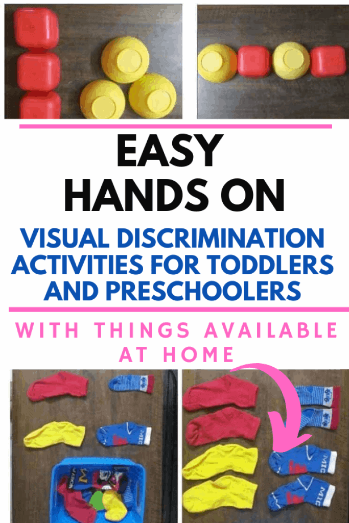 Contains list of easy hands on activities for toddlers and preschoolers to develop visual discrimination skills with things avaialbe at home