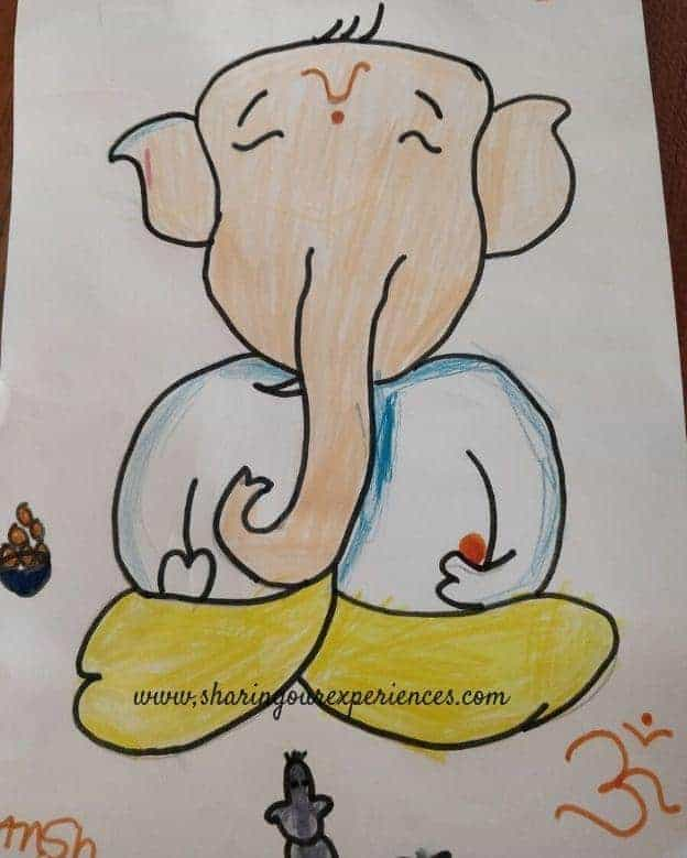 Ganesha drawing coloring