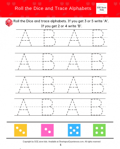 SOE Store kids Capital alphabet writing game for kids with dice