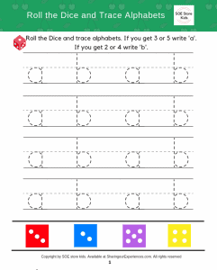 reusable Small alphabets writing game for kids with dice