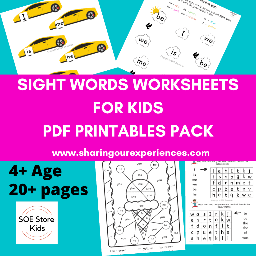Sight words worksheets for kids product pic
