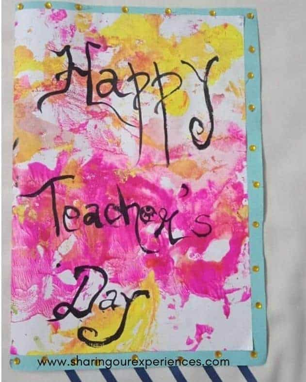 Teachers day card with Dab dab painting