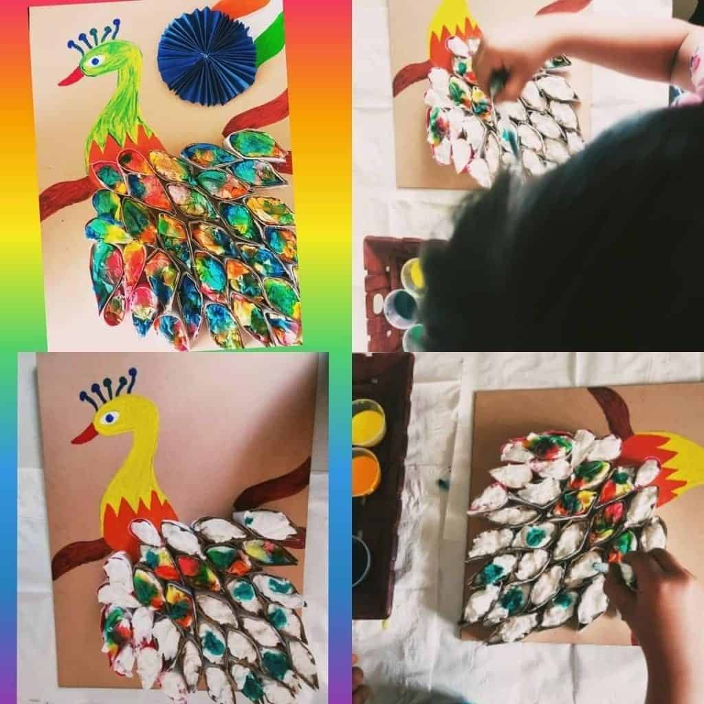 Making of Decorating peacock feathers with painting on tissue paper