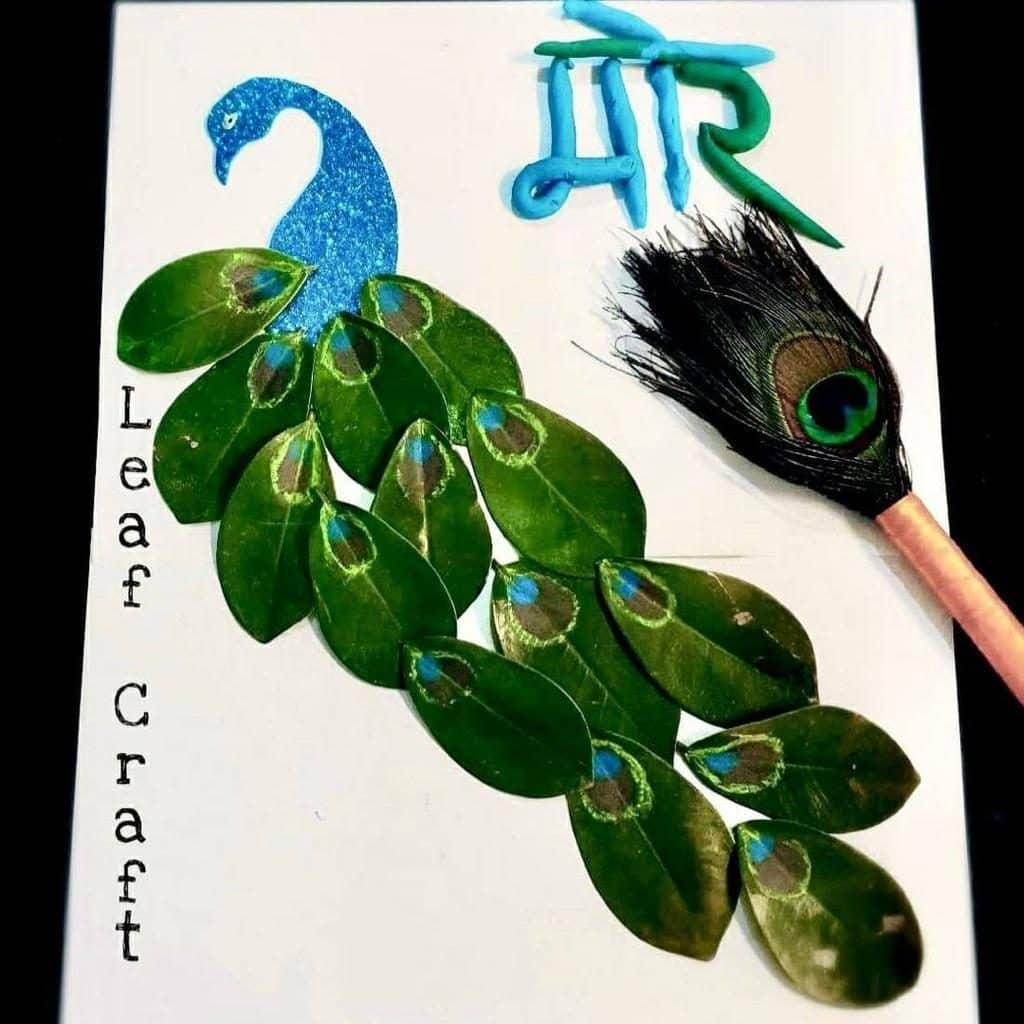 Nature Art for preschoolers Peacock Feathers