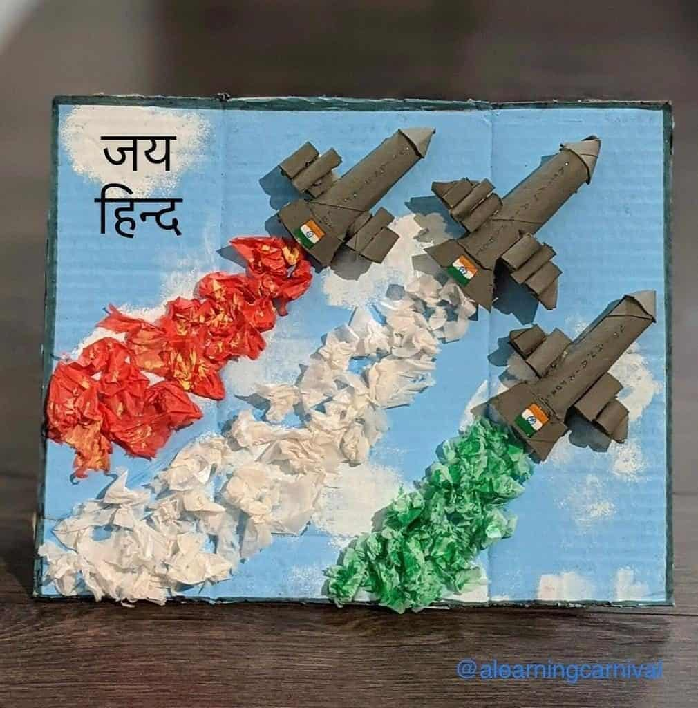 Tissue Roll & Paper Air Show by IAF Best out of waste craft for pre-schoolers