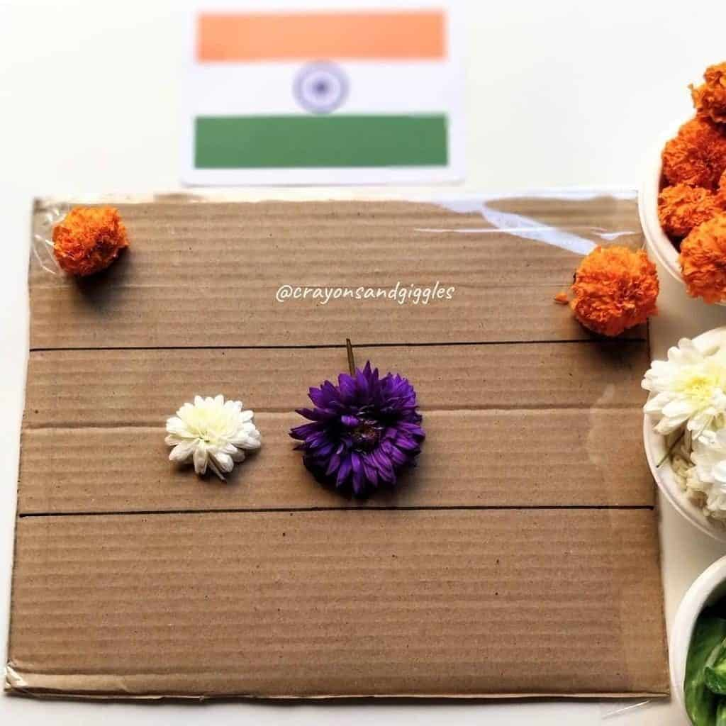 Tricolor Sticky Flower Art Nature art for Toddlers making