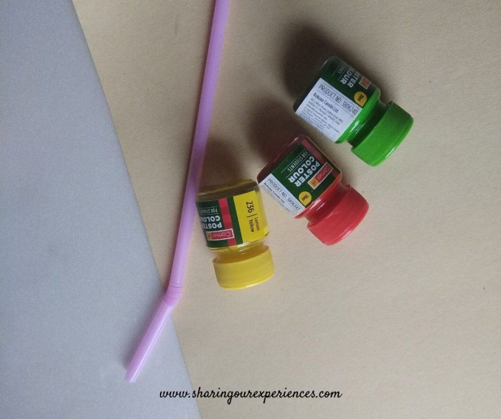 fire cracker craft via painting with straws