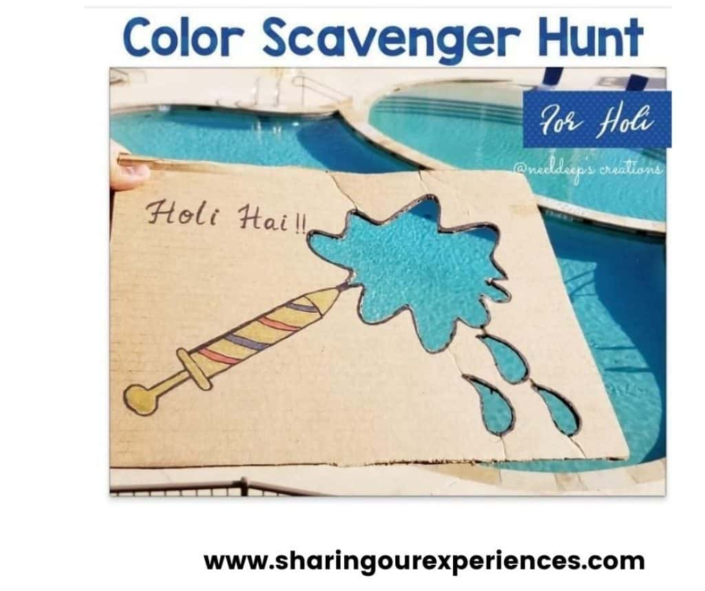 easy color Hunt activity for nursery, preschooler and toddler. Holi Theme activity for all season
