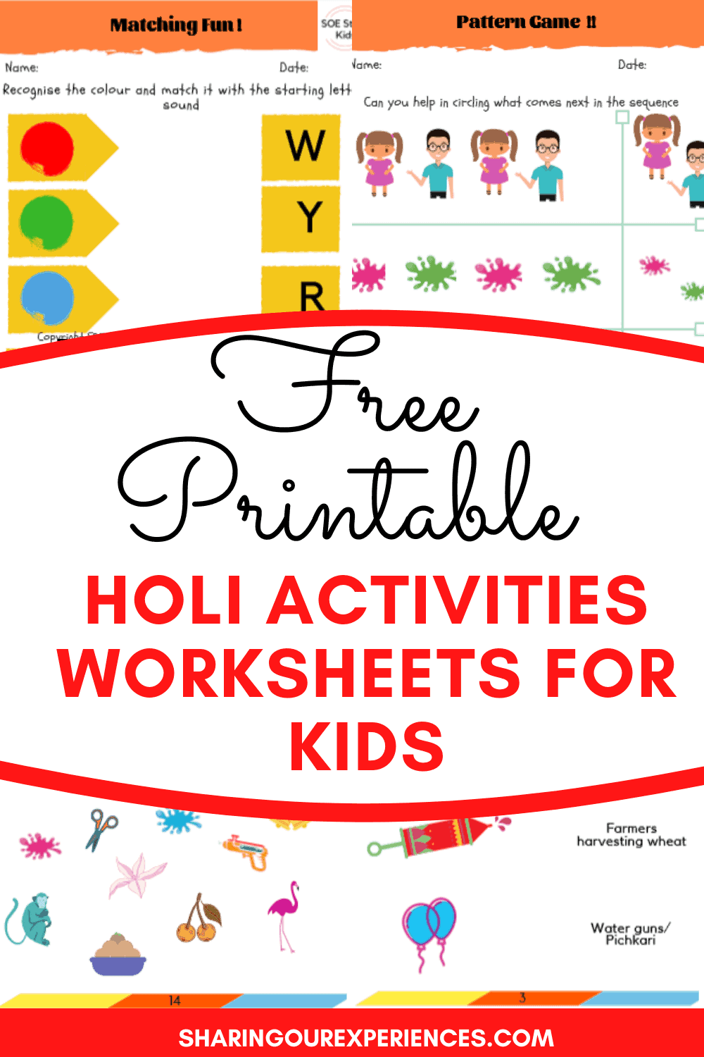 Free Printables Holi crafts and activities for kids pdf