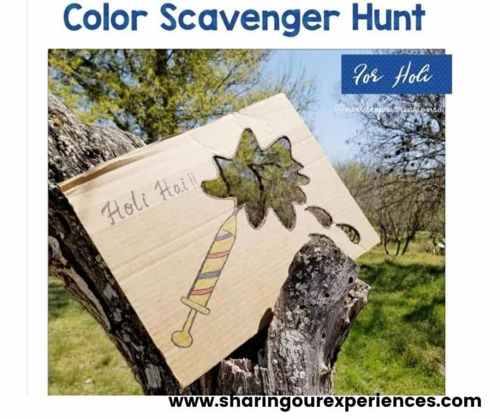 Holi scavenger hunt for toddlers, preschooler and kindergarten. Perfect for color theme activity.