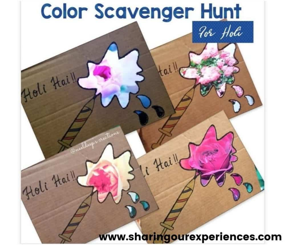 creative color scavenger hunt activity for toddler, preschool and nursery kids. Fun activity to know colors and identify with some book reading