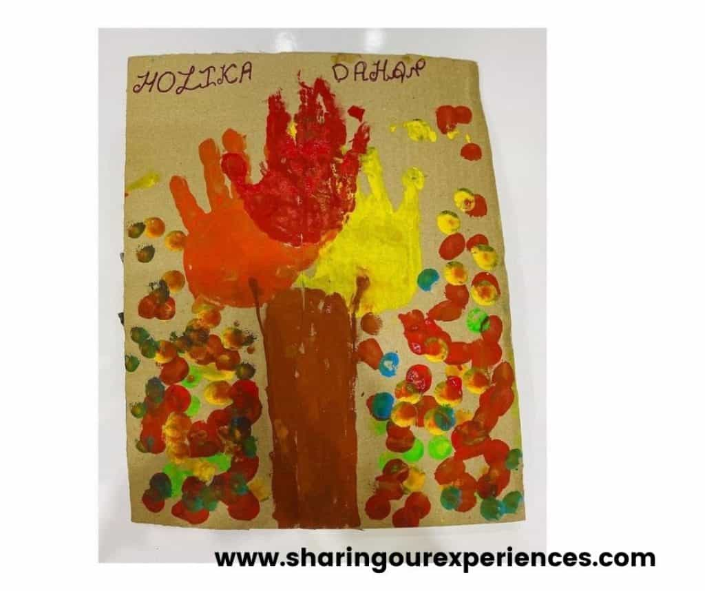 Holi art activity for festival reads and them activities