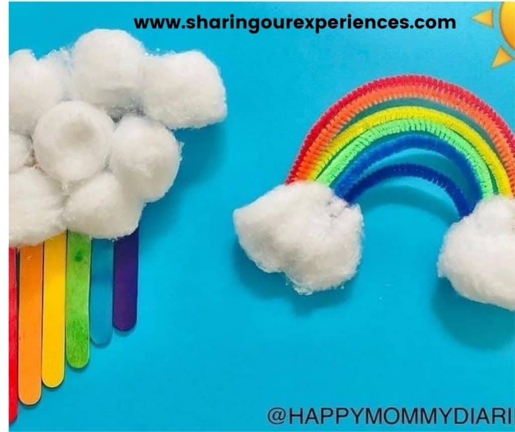 Easy Rainbow cspring craft idea for toddlers, preschoolers and kindergartens. Fun craft for color theme projects both educational and engaging using popsicle stick and cotton balls.