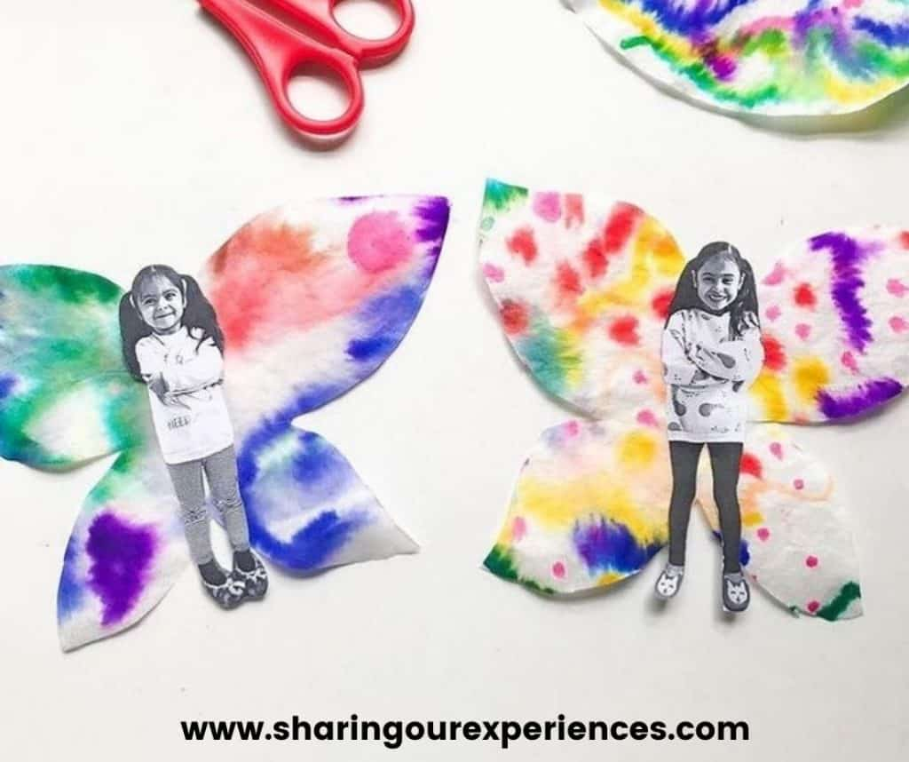 colorful butterfly paper craft activity for spring and summer season. Easy Craft Idea for insect life cycle activity and reading prop.