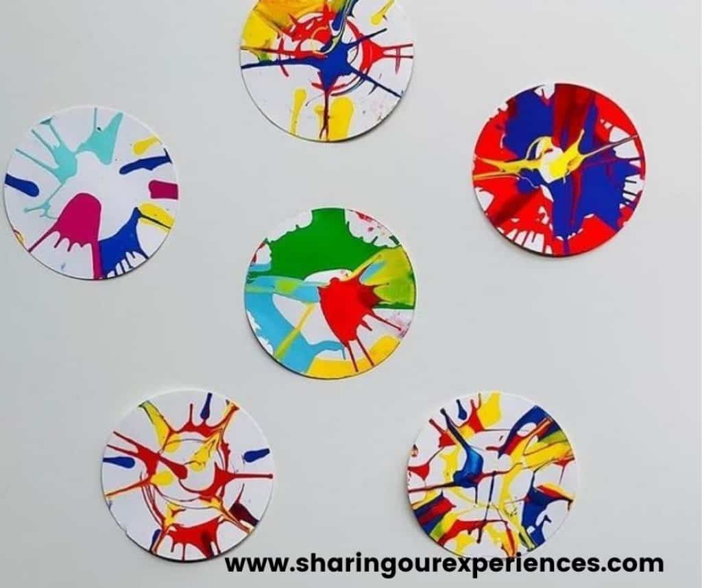 spin art colorful spring craft activity for toddlers, preschoolers and kindergartens. Perfect theme activity for spring season