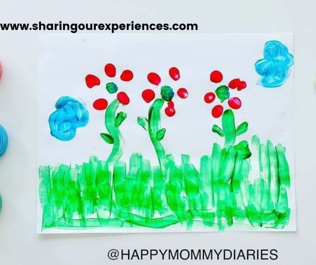 Finger painting spring art activity for preschoolers, toddlers and kindergarten. Fun activity to include in spring themed projects and book reading sessions.
