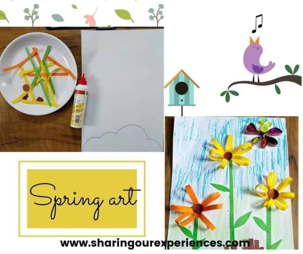 Spring flower craft made with quilling technique for toddlers, preschoolers and kindergartens. Easy to make art and craft, perfect for flower theme art.projects and