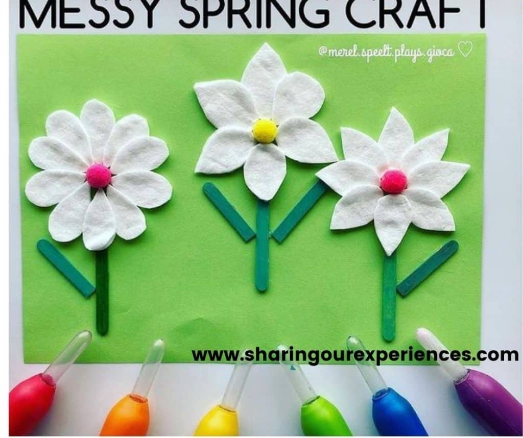 colorful spring flower craft for idea for preschoolers, toddlers and kindergarten. Easy and fun cotton flower for theme based projects as reading propsgs