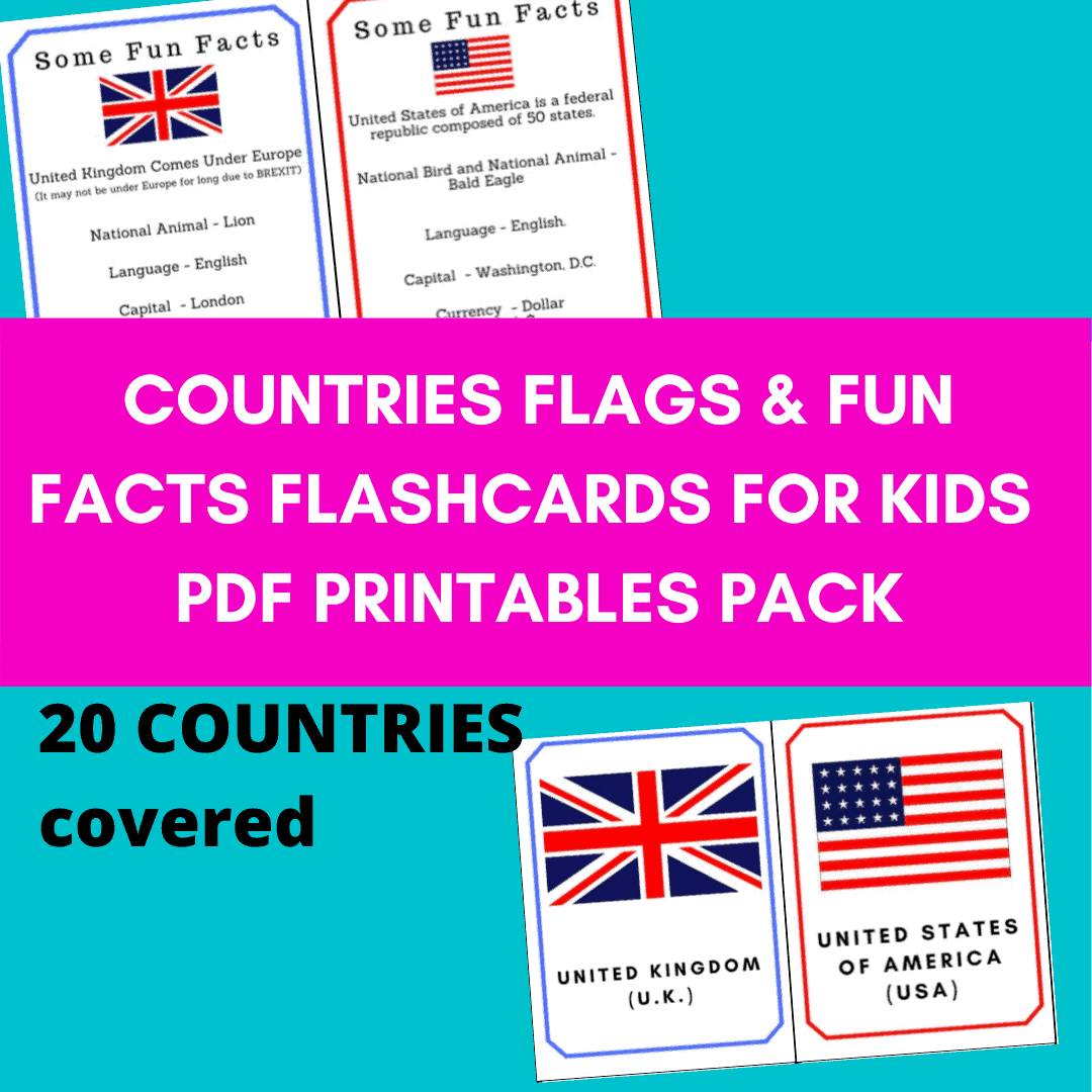 Countries flags and fun facts flashcards pdf product. Flags of the world printable pdf