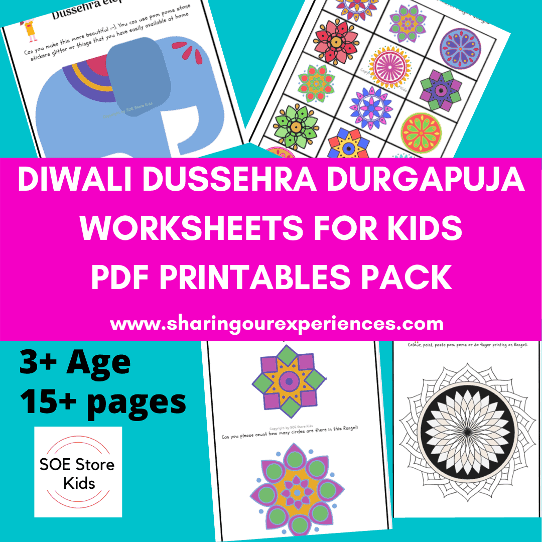 Diwali Durga Puja and Dussehra activities printables pdf downloadable for kids