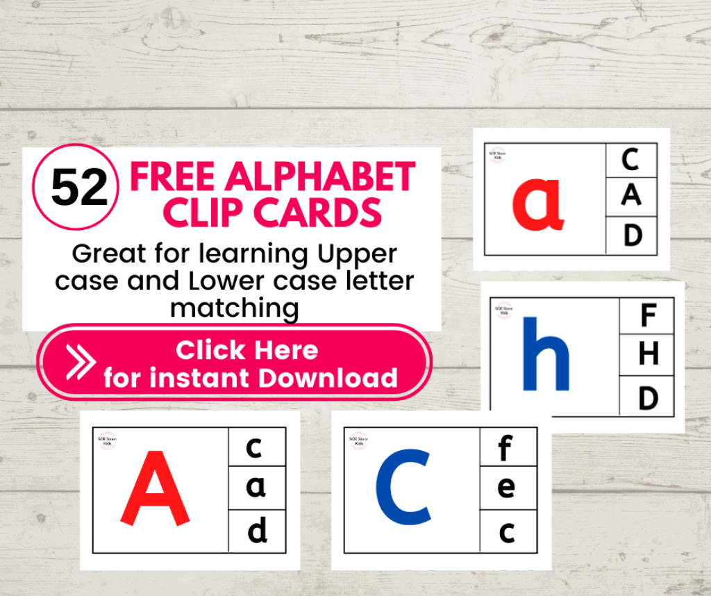 52 Free Alphabet Matching clip cards (Capital Upper case and Small letter Lowercase Alphabets) Alphabet clipcards free download. Great for learning Alphabet and making transition to Kindergarten much easier.
