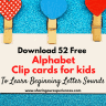 Instand Download 52 Free beginning sounds Alphabet clip cards with images for kids toddlers preschoolers