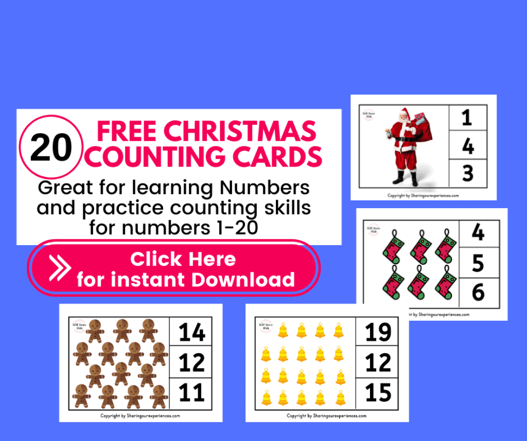 FREE Printable Number Clip Cards for Kindergarten Nursery Christmas themed activities PDF download