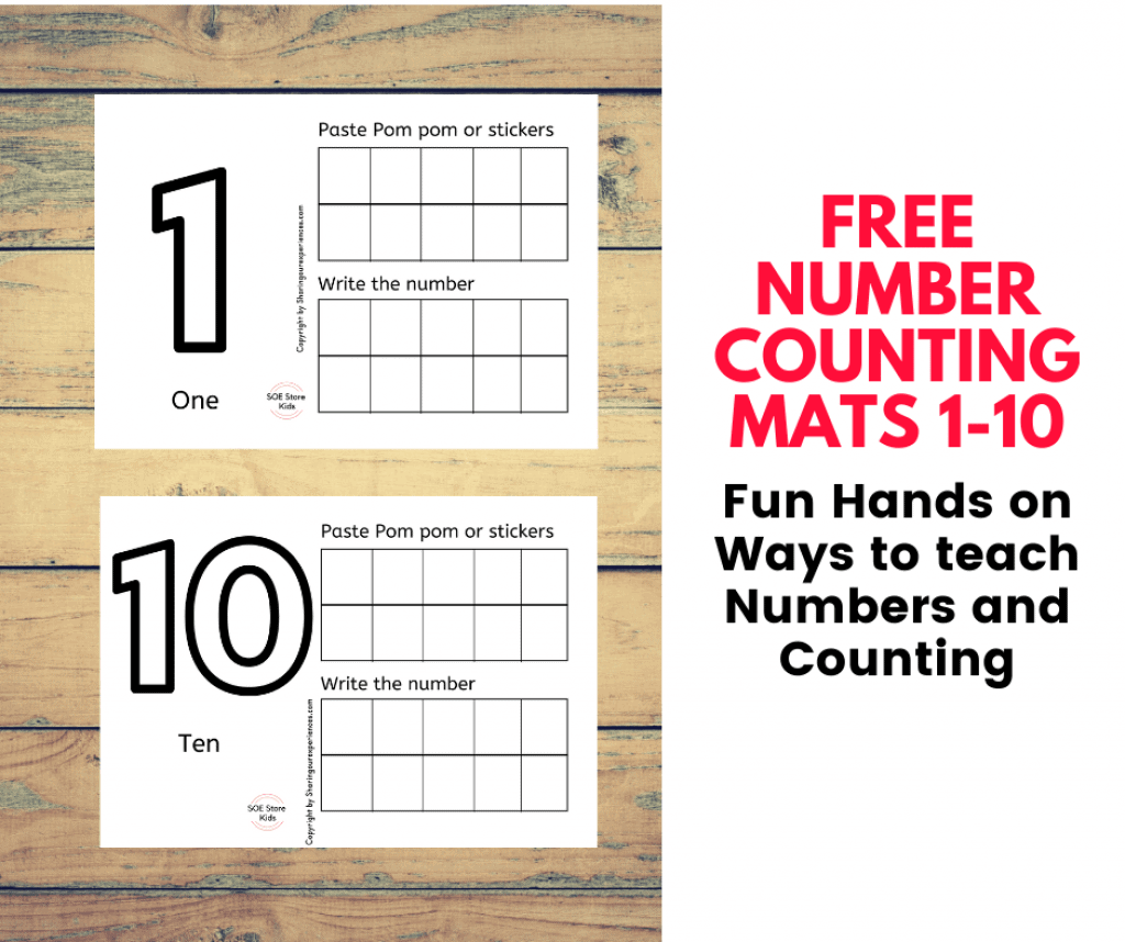 Free number mats for Preschool 1 - 10 pdf - Playdough printable counting mats for toddlers preschoolers kindergarten