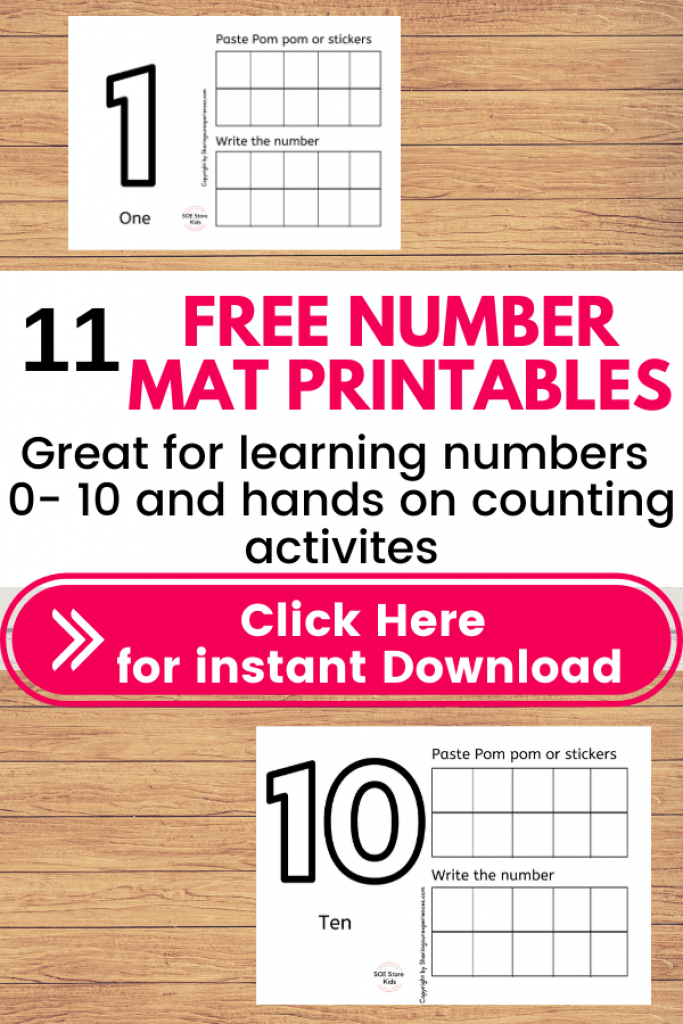 Make practicing numbers 1-10 fun with these Free number mats for Preschool 1 - 10 pdf - Playdough printable counting mats for toddlers preschoolers kindergarten kids. Great for learning math in a Hands on fun way.