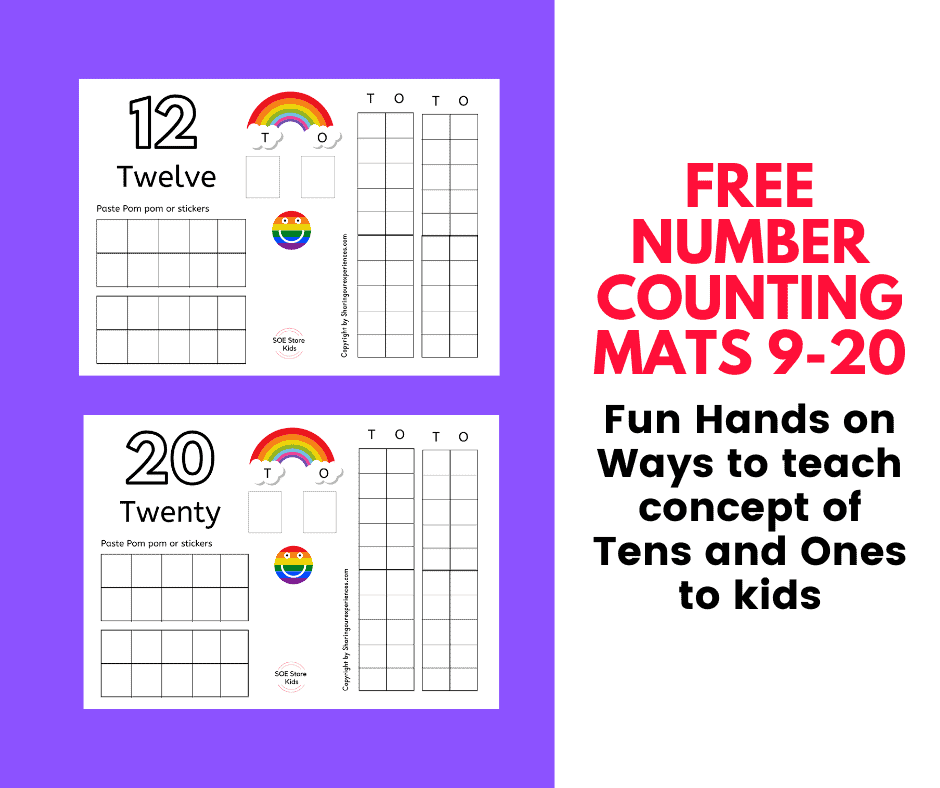 Fun Place value math activity. Free printable number mats 9-20 pdf - Great for teaching Tens and Ones concept to Kindergarten kids