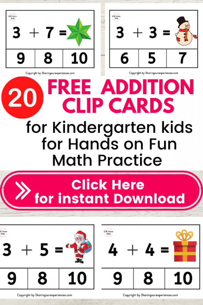 Christmas Addition clip cards pdf worksheets for Kindergarten kids for Numbers 1 to 10