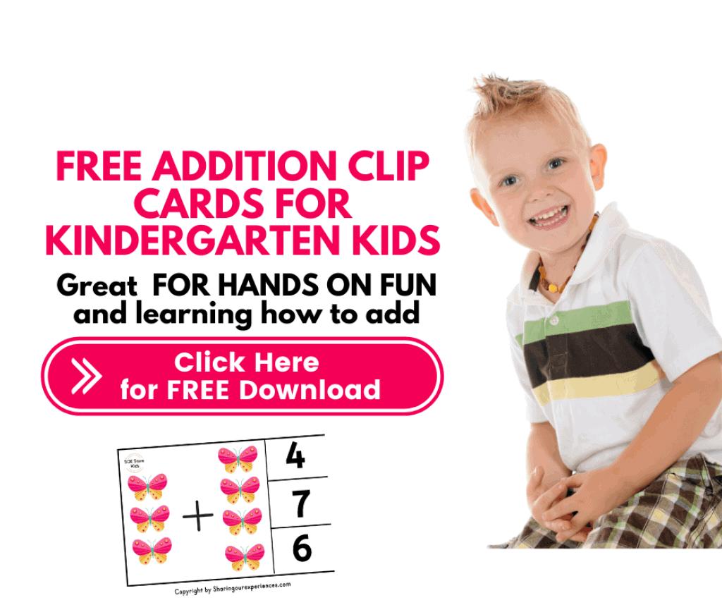 FREE Addition clip cards for Kindergarten kids Final worksheets