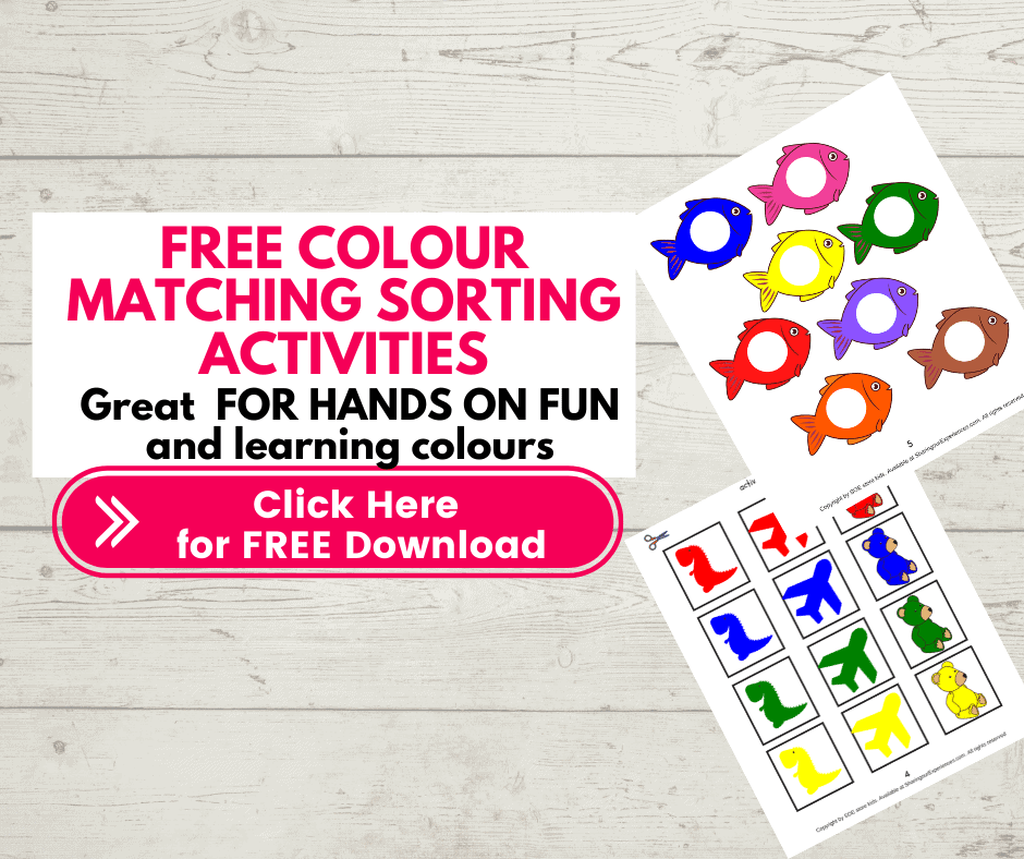 FREE colors matching activities for toddlers printable pdf. Velcro matching activities for kids