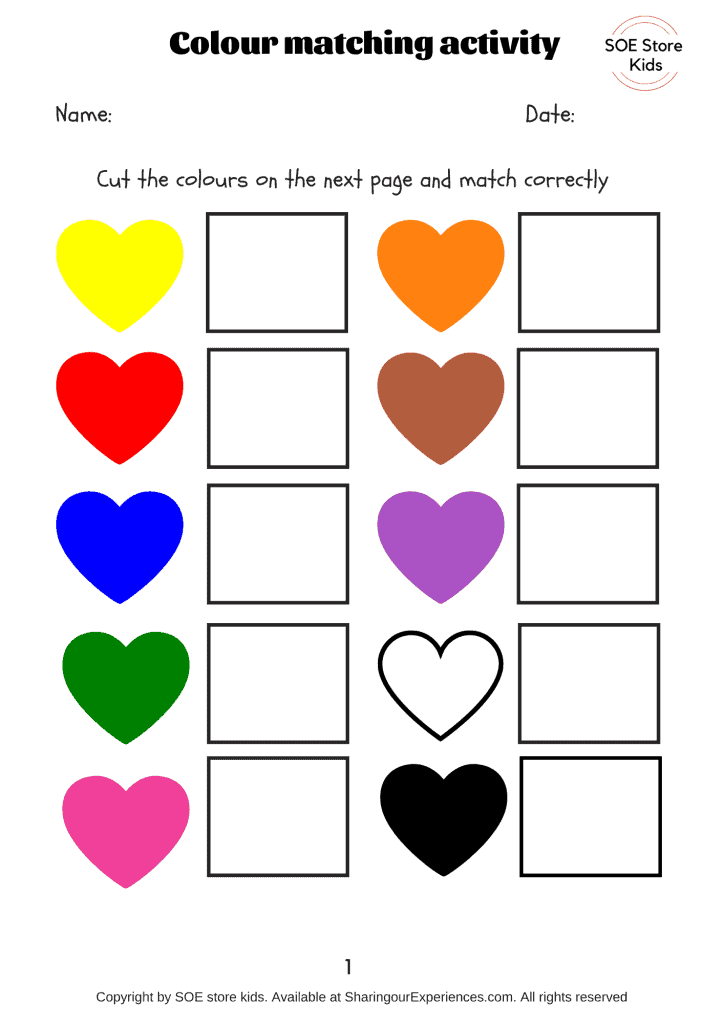 Free Colors Matching Activities For Toddlers Printable Pdf Sharing Our  Experiences