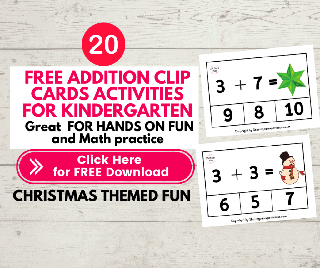 Free printable Christmas Activities Addition clip cards pdf worksheets for Kindergarten kids for Numbers 1 to 10