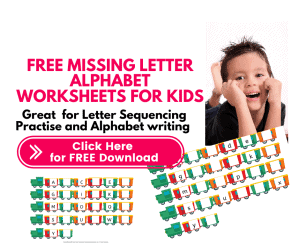 Missing letter worksheets for kids Capital and Small letter sequencing (Uppercase and lowercase Alphabet)