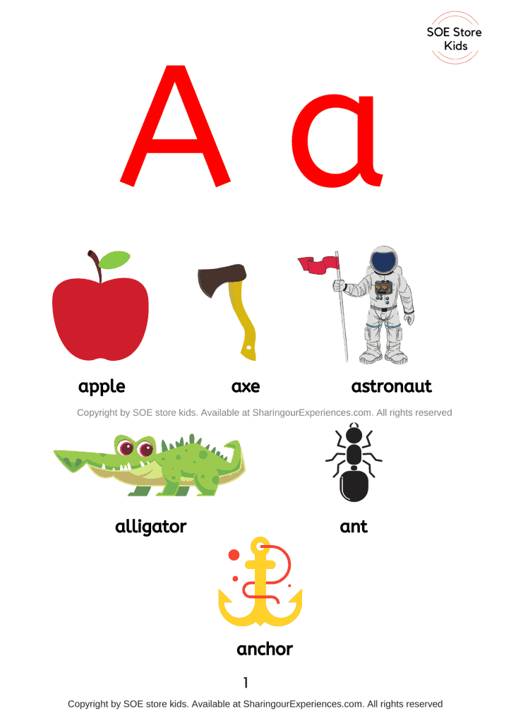 Things or simple words  that start with letter a sound for preschool and Kindergarten kids with pictures short a sound words