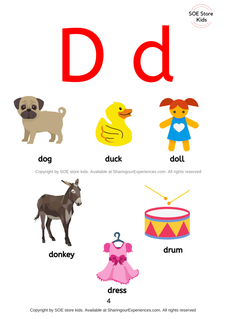 Things simple words start with letter d sound words Nursery