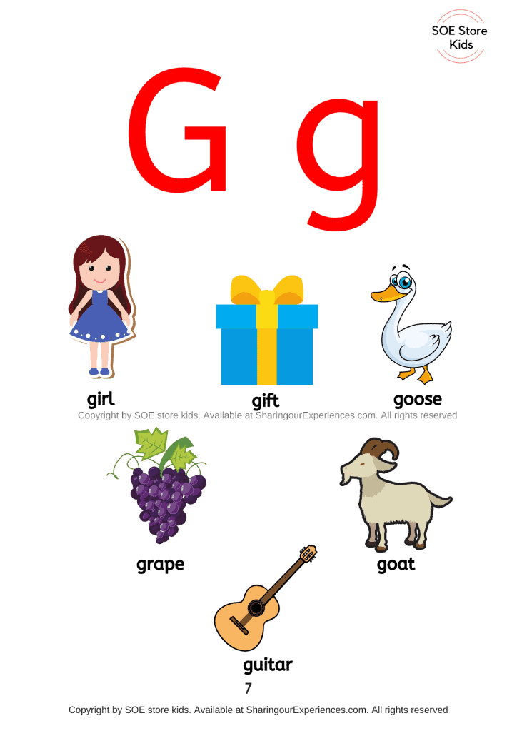 Things simple words start with letter g sound words Nursery