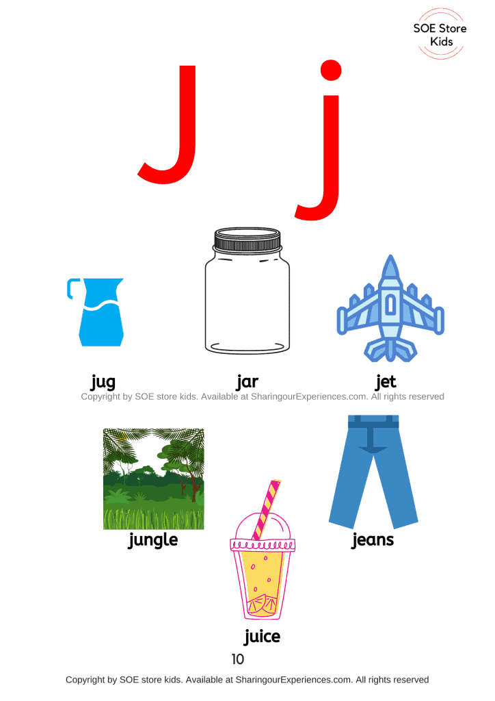 Things simple words start with letter j sound words Nursery