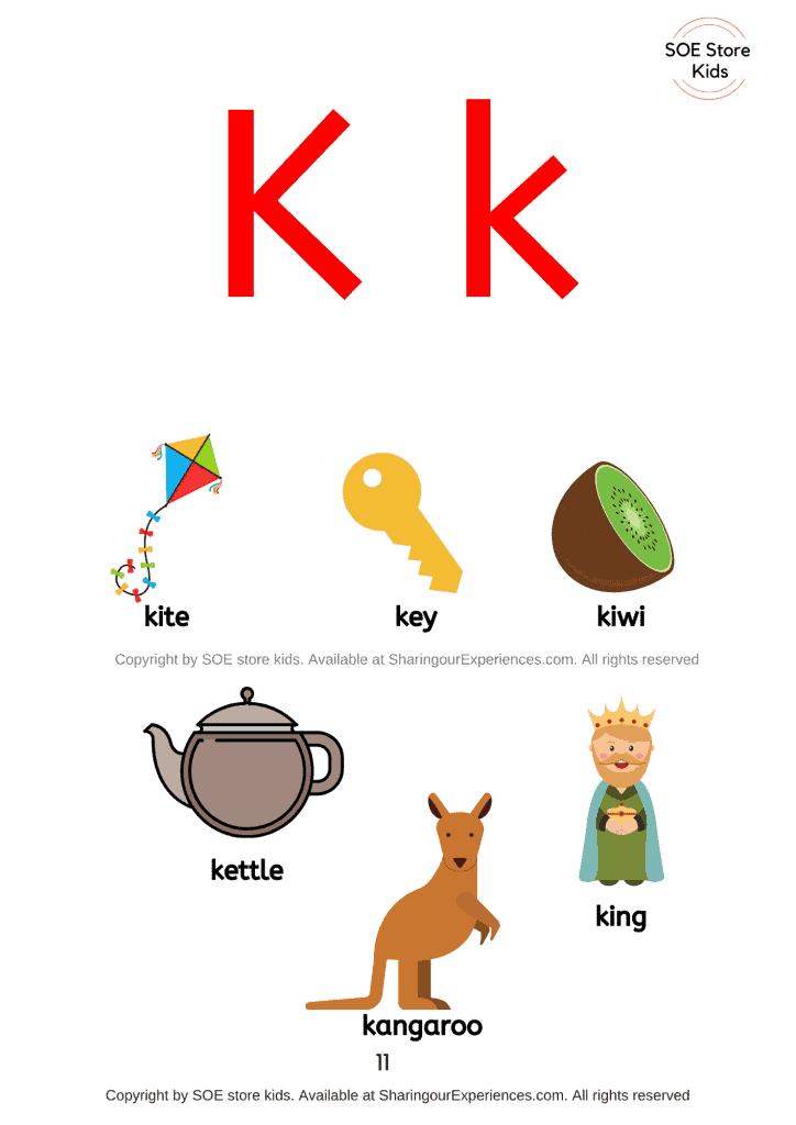 Things simple words start with letter k sound words Nursery Kindergarten kids